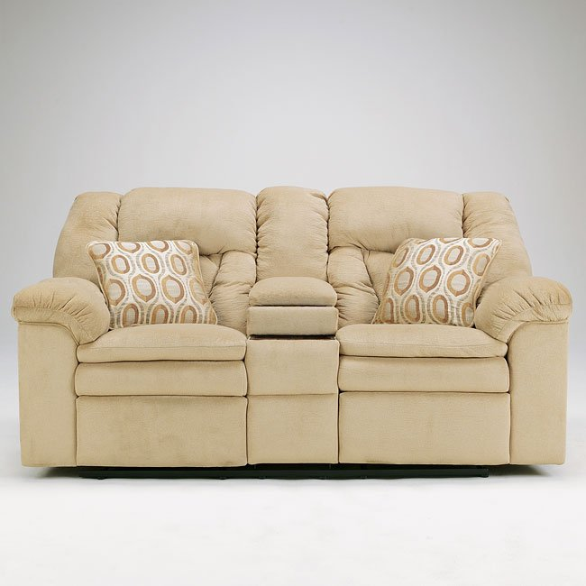 Avalanche - Sandstone Double Reclining Loveseat w/ Console