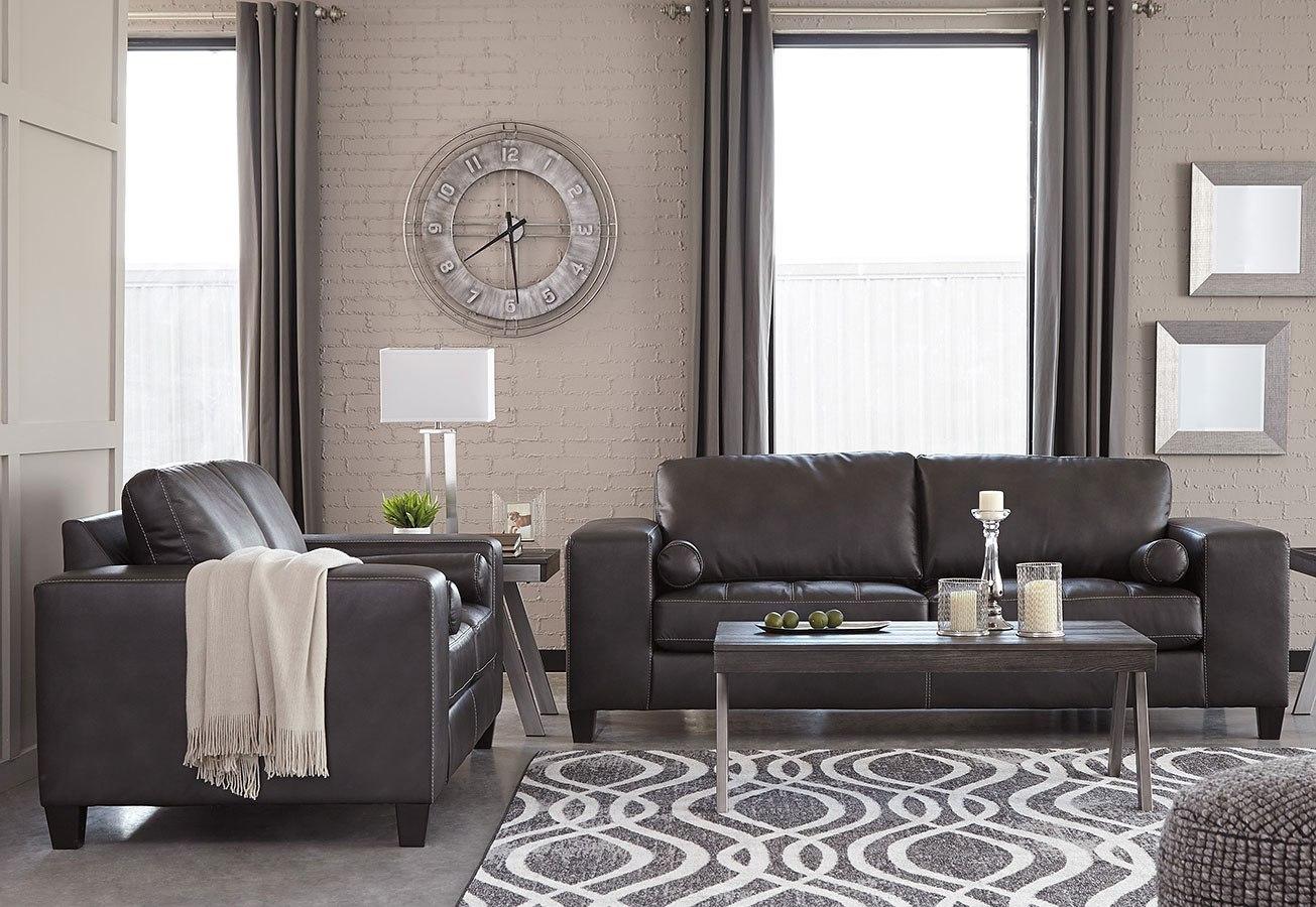 Nokomis charcoal living room set signature design furniture cart for Charcoal living room furniture