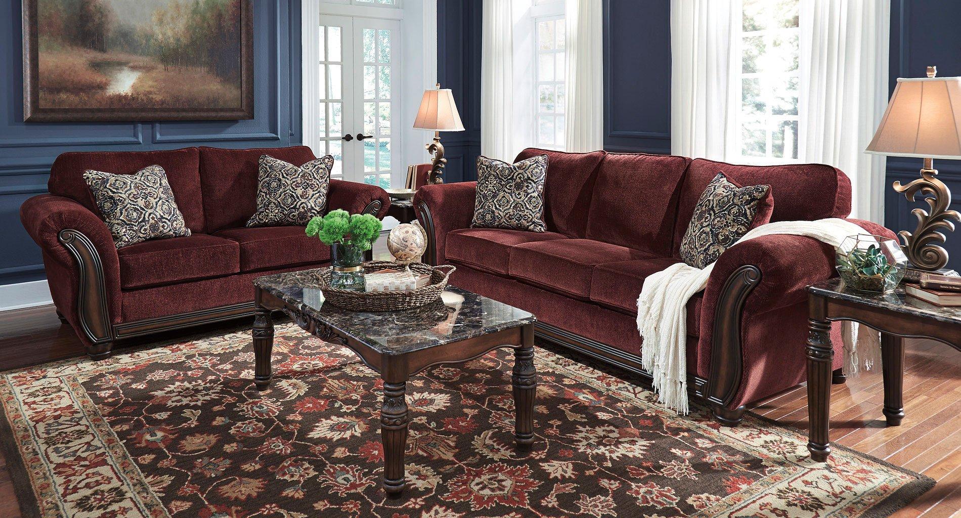 Chesterbrook Burgundy Living Room Set