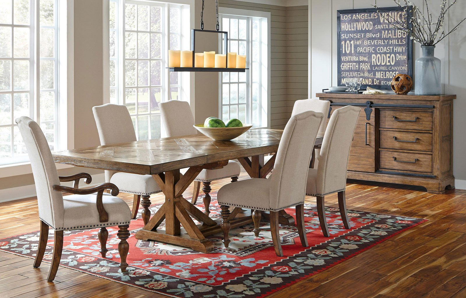 American Attitude X-Pattern Saw Horse Dining Set w/ Upholstered Chairs