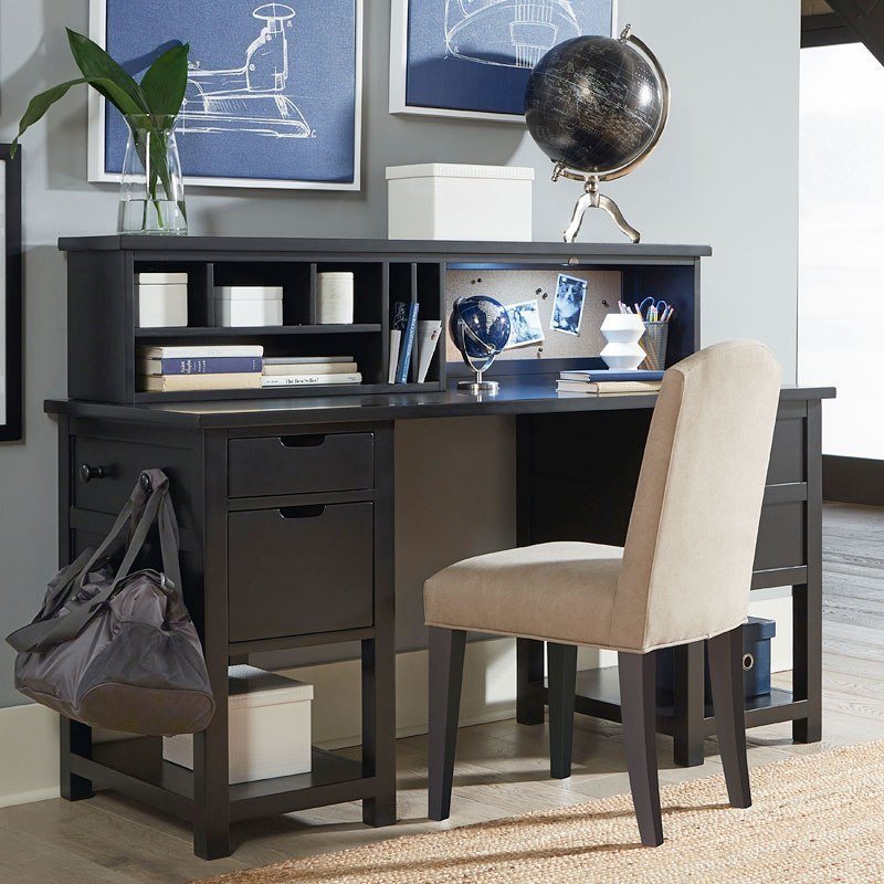 Study Hall Jr Executive Desk W/ Hutch (Midnight Black) Legacy Classic Kids  | Furniture Cart