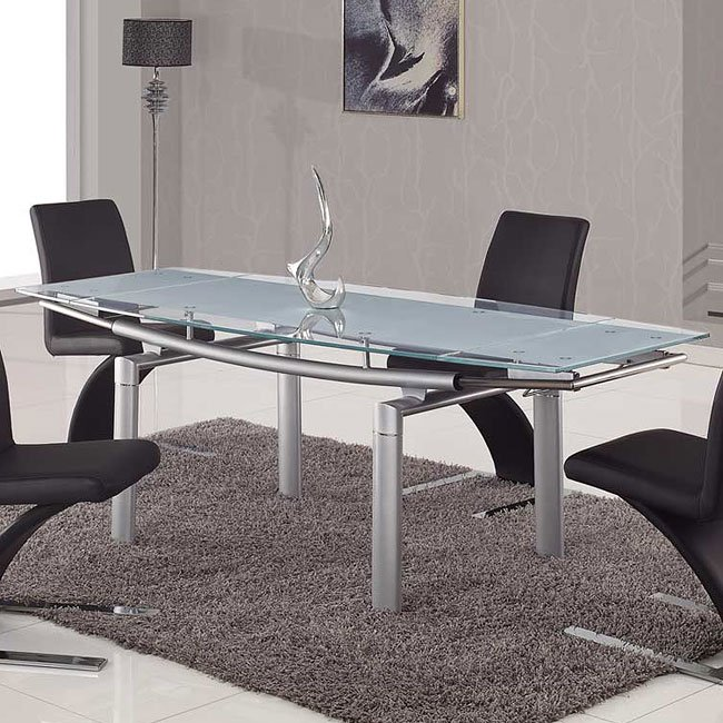 88DT Glass Dining Table W/ Silver Legs Global Furniture