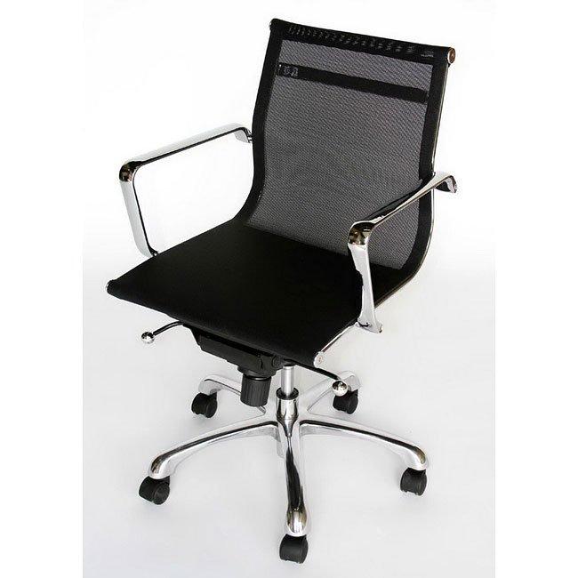 Chrome Frame Mesh Office Chair (Black)
