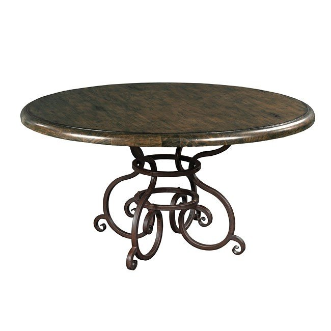 Artisans Shoppe 60 Inch Round Table W Metal Base Black Forest