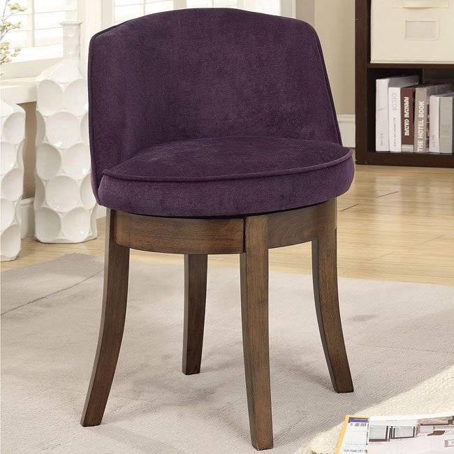 Sensational Eggplant Chenille Swivel Vanity Stool Andrewgaddart Wooden Chair Designs For Living Room Andrewgaddartcom