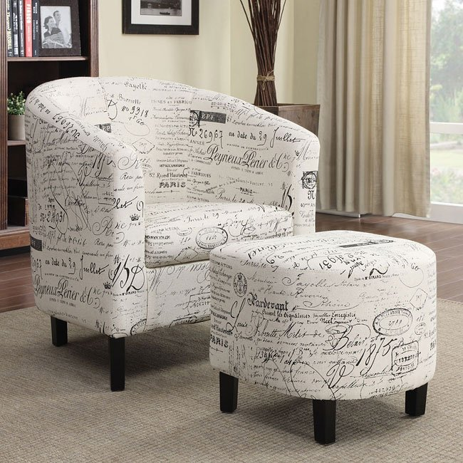 French Script Pattern Accent Chair w/ Ottoman