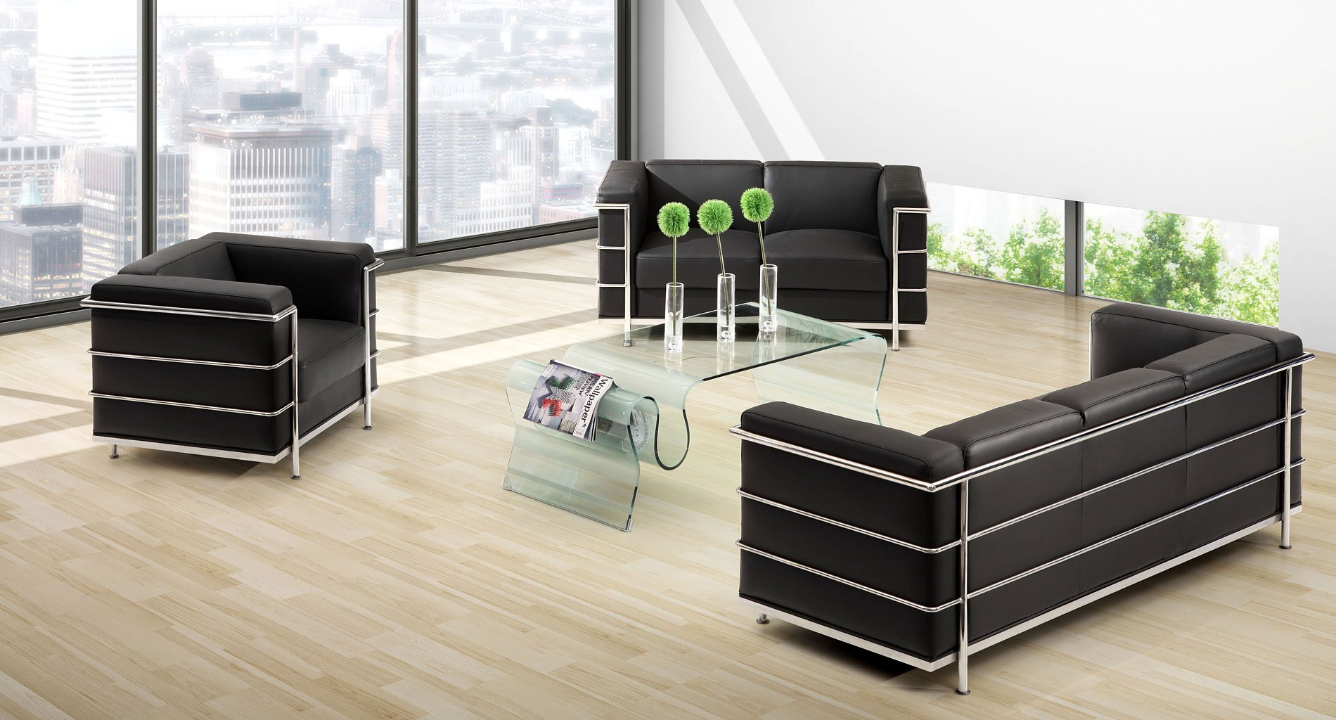 Fortress Leather Living Room Set (Black) Zuo Modern