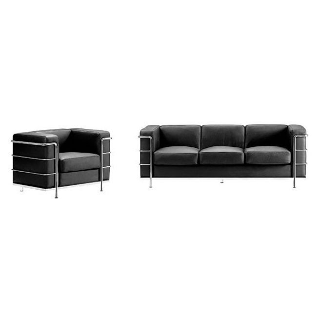 Fortress Leather Sofa Black Zuo Modern Furniture Cart