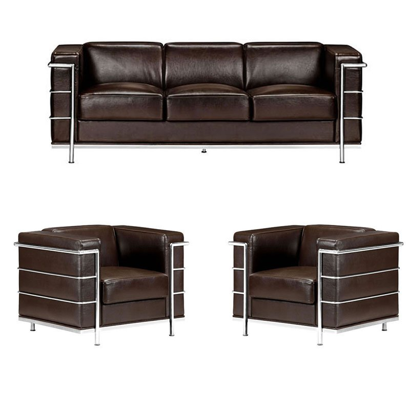 Fortress Leather Living Room Set Espresso Zuo Modern
