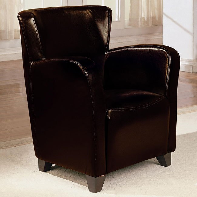 Upholstered High Back Chair (Brown)
