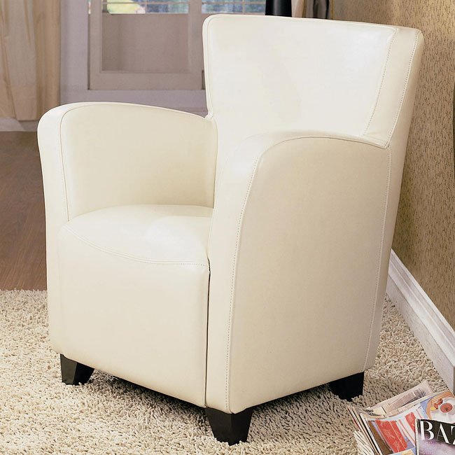 Upholstered High Back Chair (Cream)