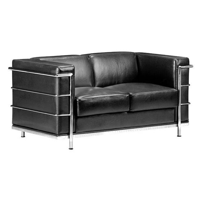 Fortress Leather Loveseat Black Zuo Modern Furniture Cart