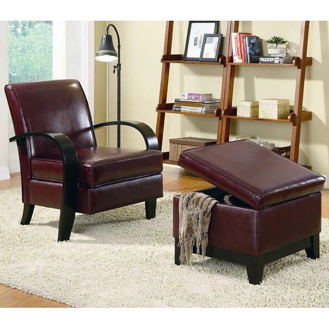 Bentwood Accent Chair w/ Ottoman (Wine Red)