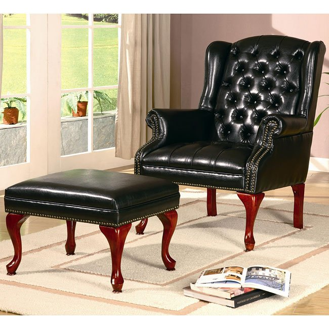 Tufted Wing Back Chair w/ Ottoman (Black)