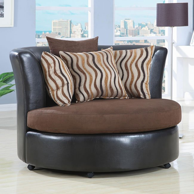 Upholstered Round Swivel Chair