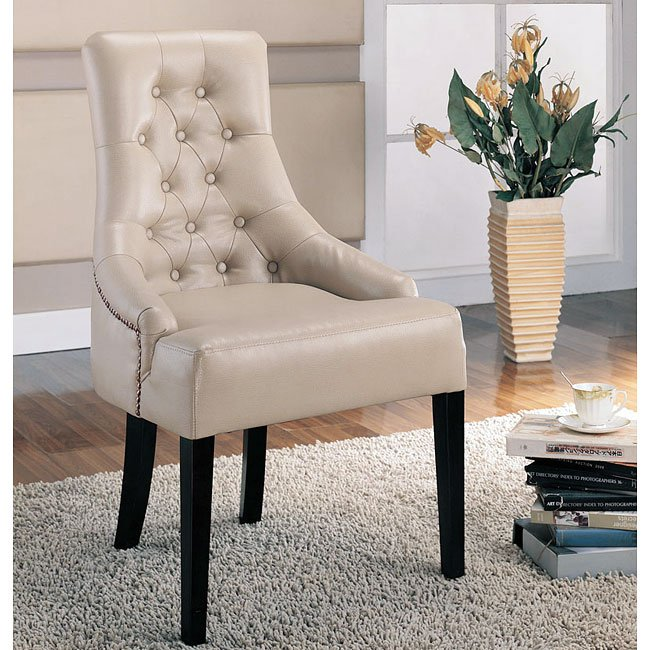 Contemporary High Back Chair (Beige)