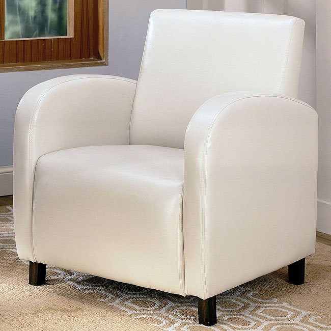 Vinyl Upholstered Chair (Cream)