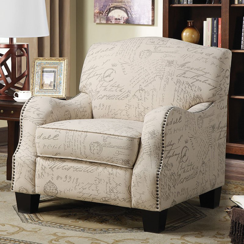 Cream Accent Chair W/ French Script Print