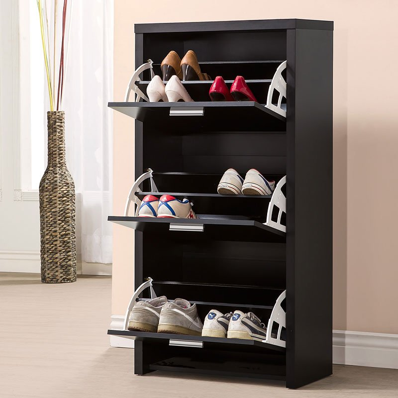 Black Shoe Cabinet w/ 3 Drawers