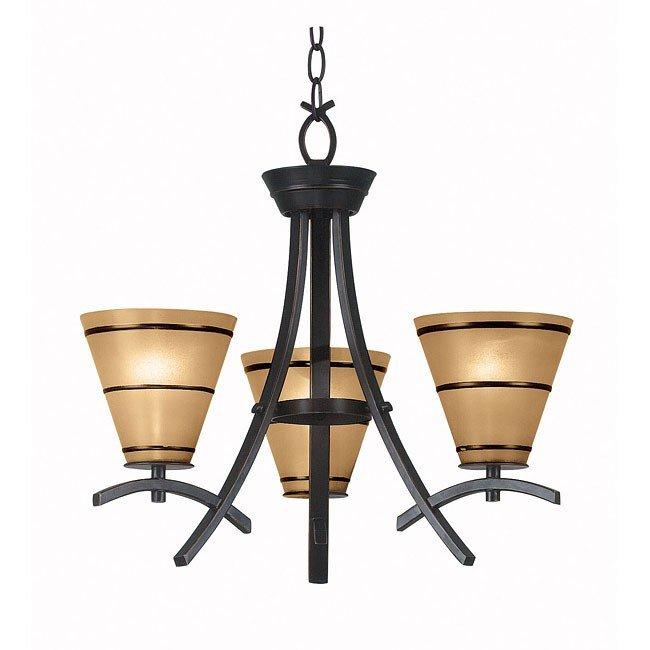 Wright 3 Light Chandelier (Bronze)