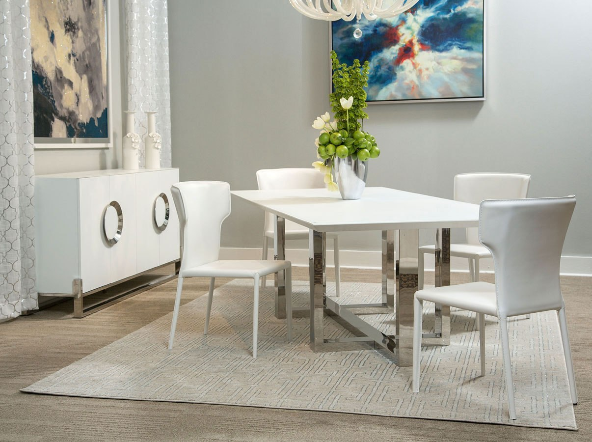 Halo Rectangular Glass Top Dining Room Set