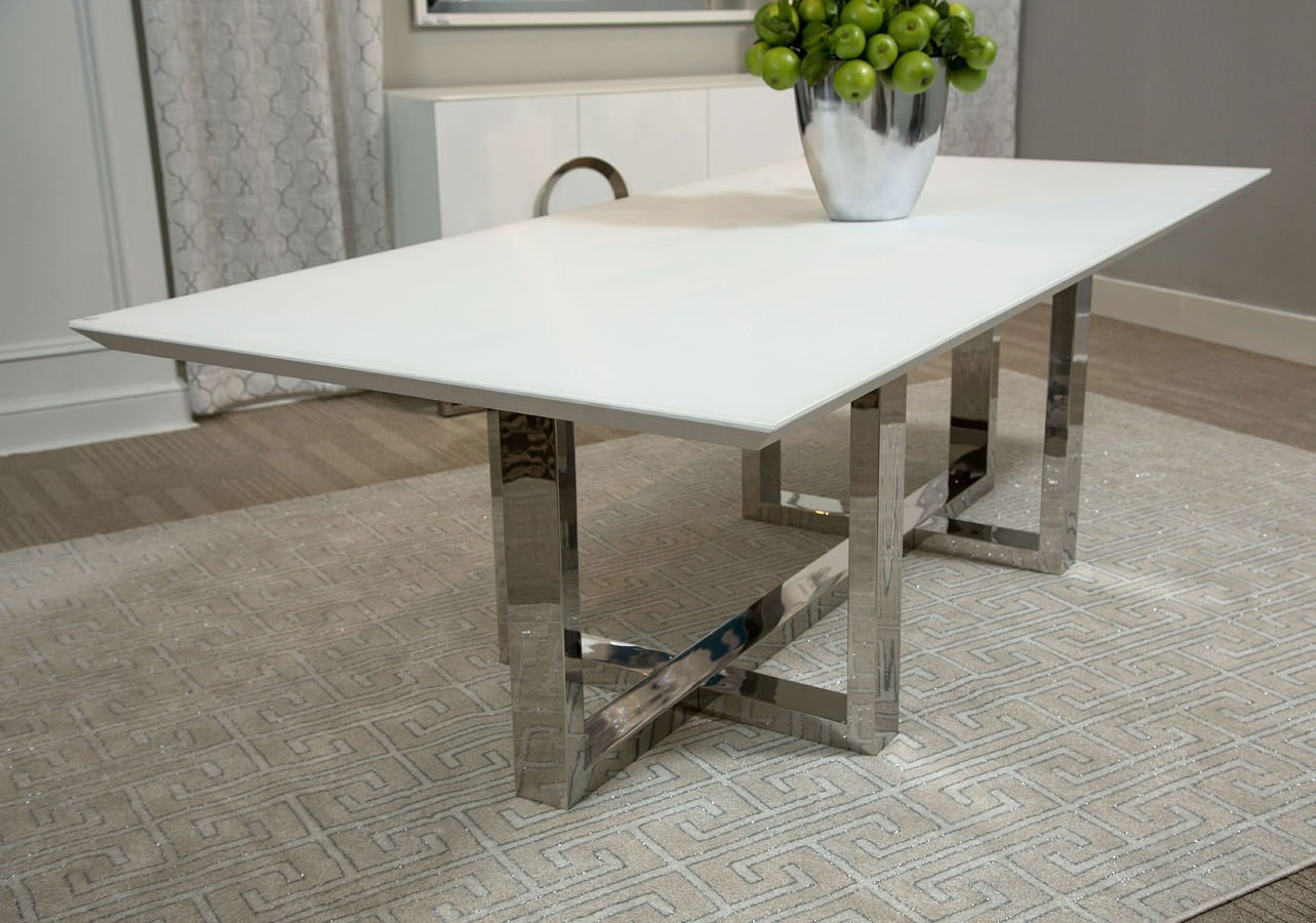 Halo Rectangular Glass Top Dining Table
