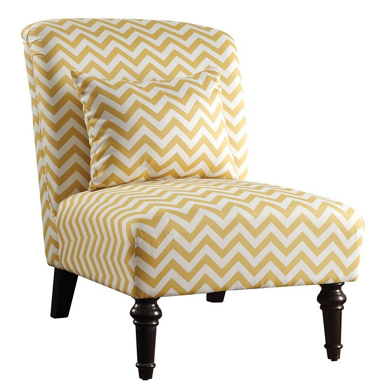 Bon Woven Accent Chair (White/Yellow Chevron)