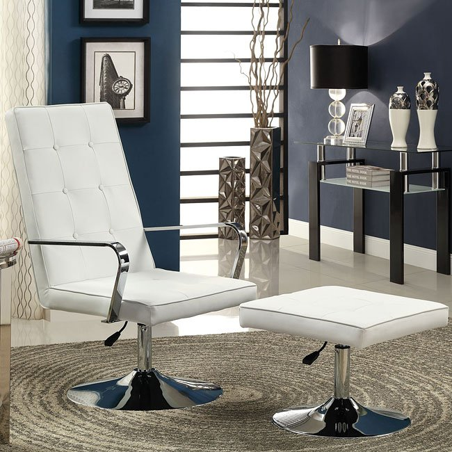 White Swivel Accent Chair w/ Ottoman