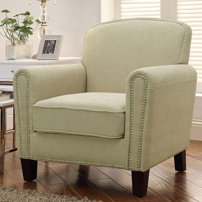Beige Accent Chair w/ Nailhead Trim