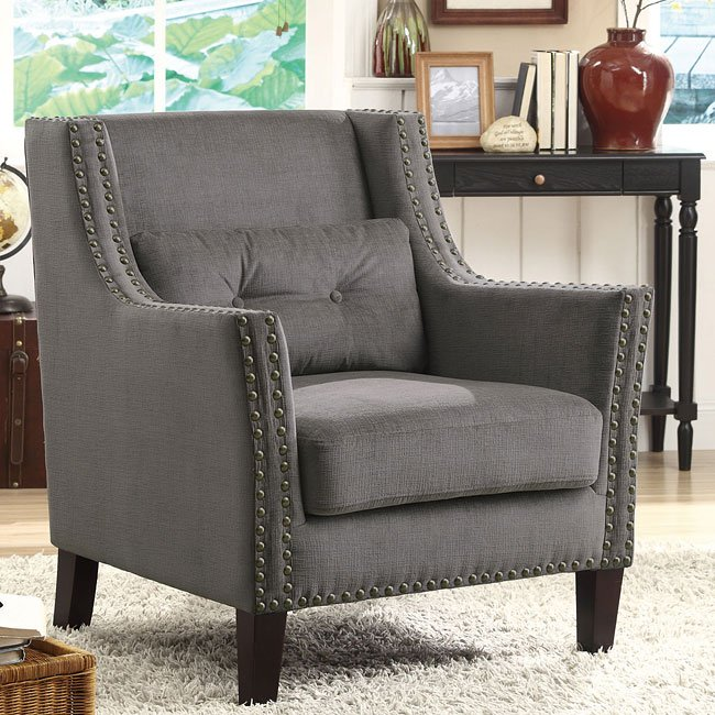 Grey Accent Chair w/ Nailhead Trim and Pillow
