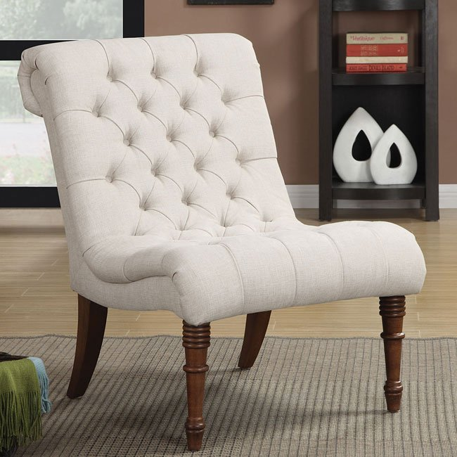 Oatmeal Curved Accent Chair