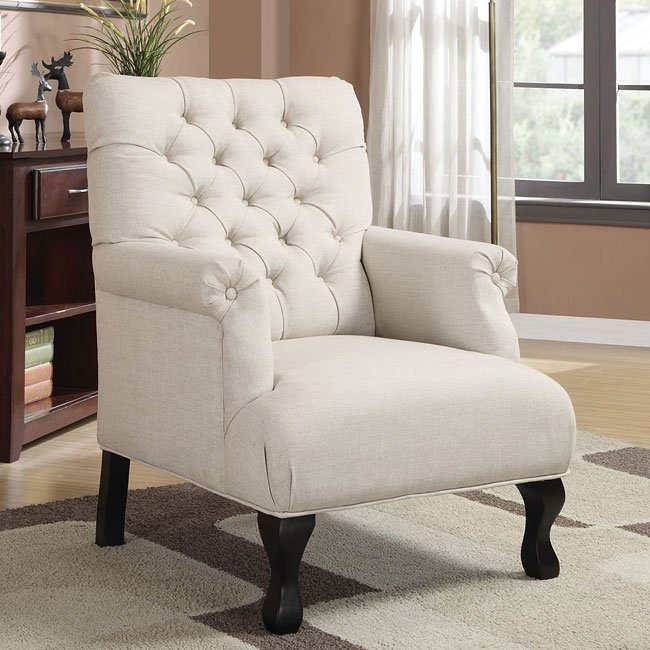 Oatmeal Button-Tufted Accent Chair