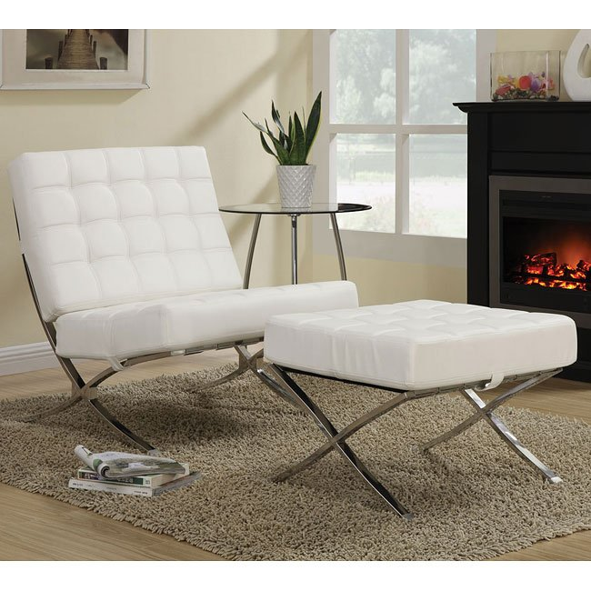 White Waffle Accent Chair w/ Ottoman