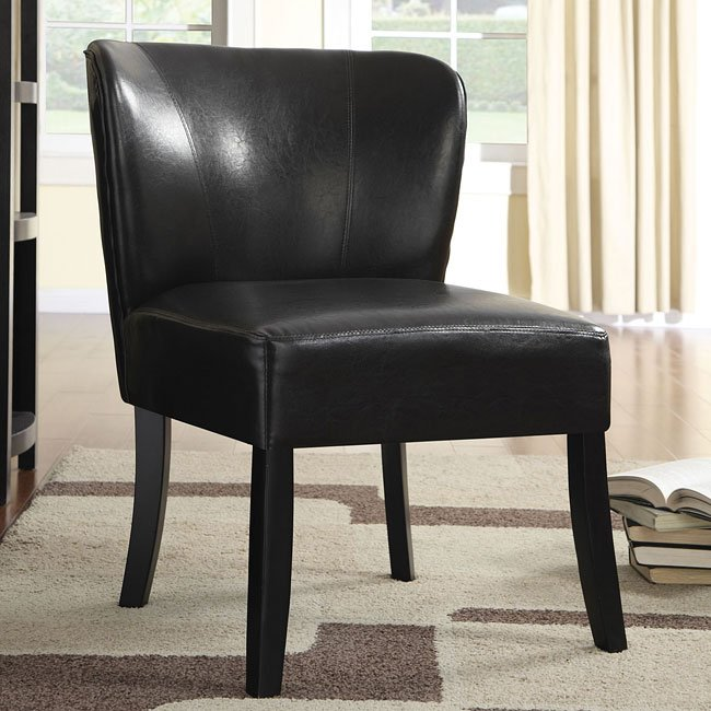 Dark Brown Vinyl Accent Chair