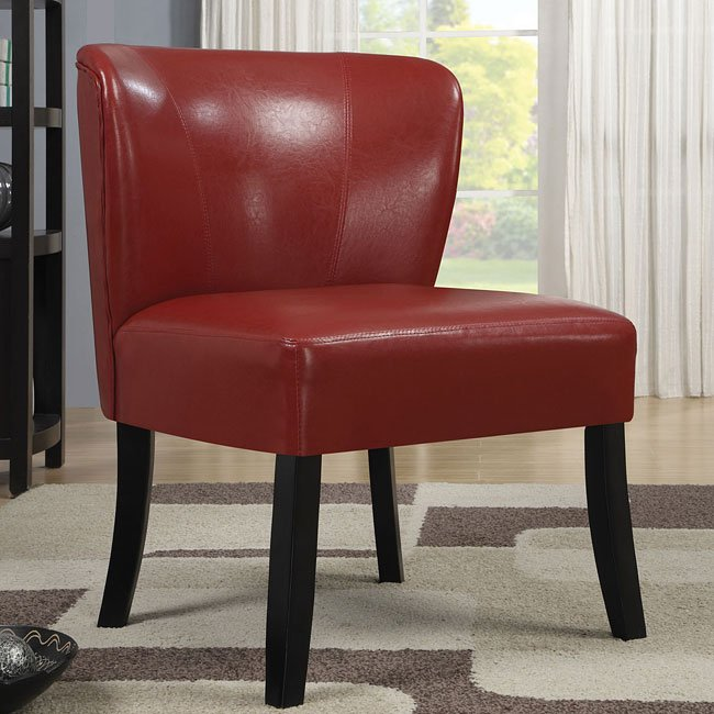 Red Vinyl Accent Chair