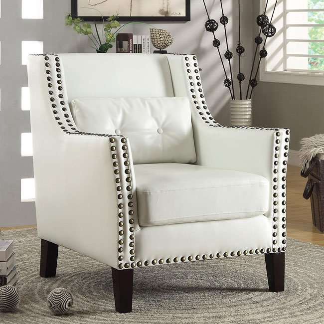 White Accent Chair w/ Nailhead Trim