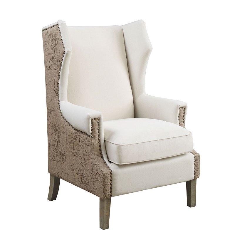Accent Chair W Map Print Coaster Furniture Furniture Cart