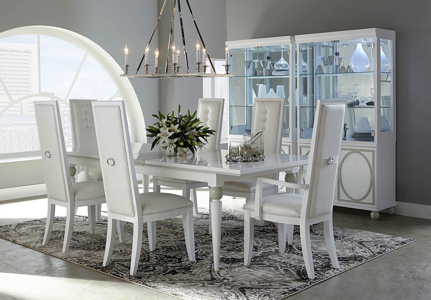 white dining room set  country chic 5 piece round white