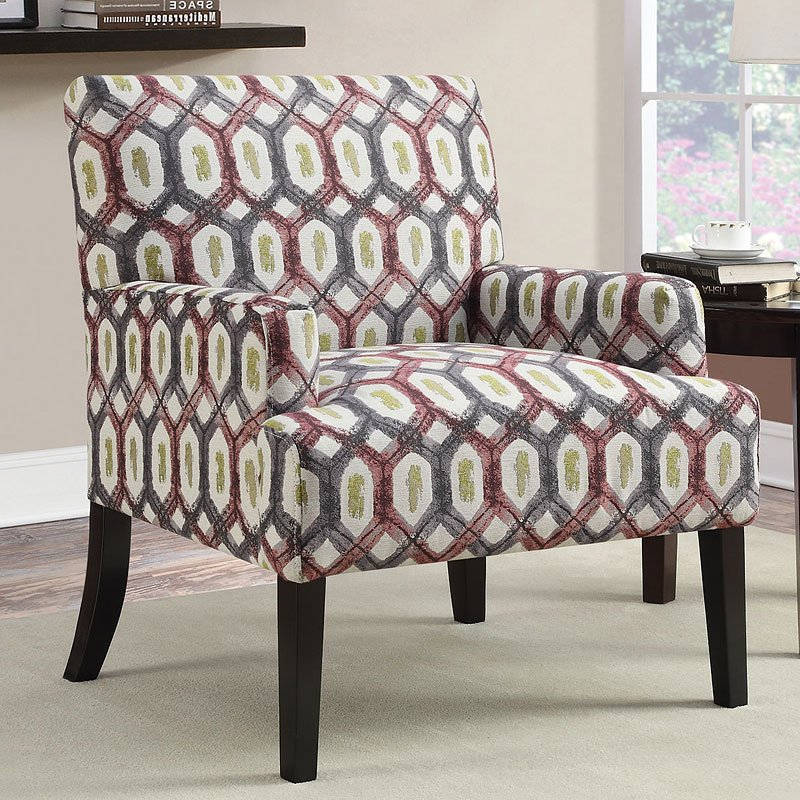 Genial Geometric Patterned Accent Chair (Red W/ Grey)