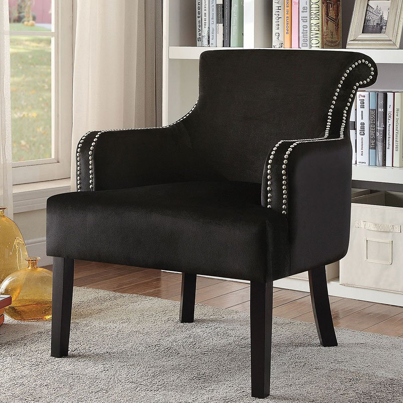 Elegant Accent Chair W/ Nailhead Trim (Black)