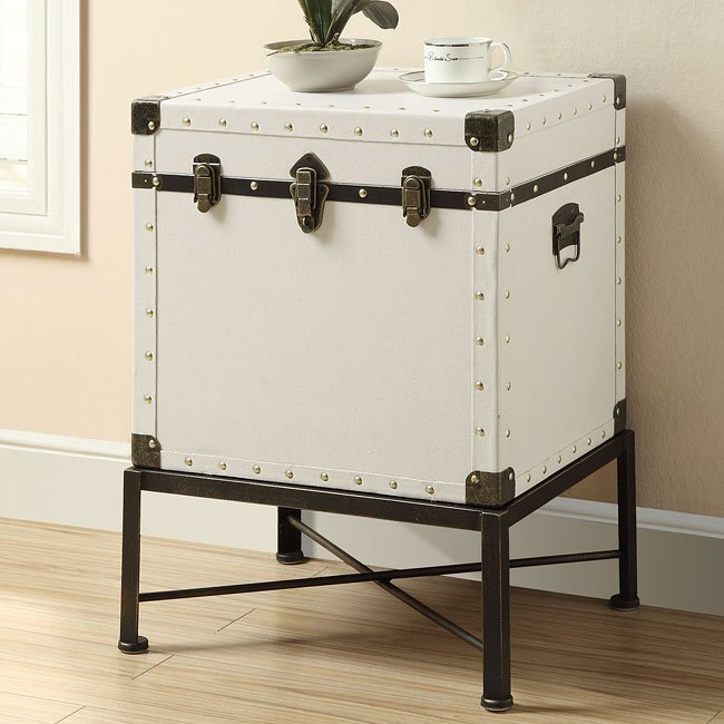 White Trunk-Style Accent Table