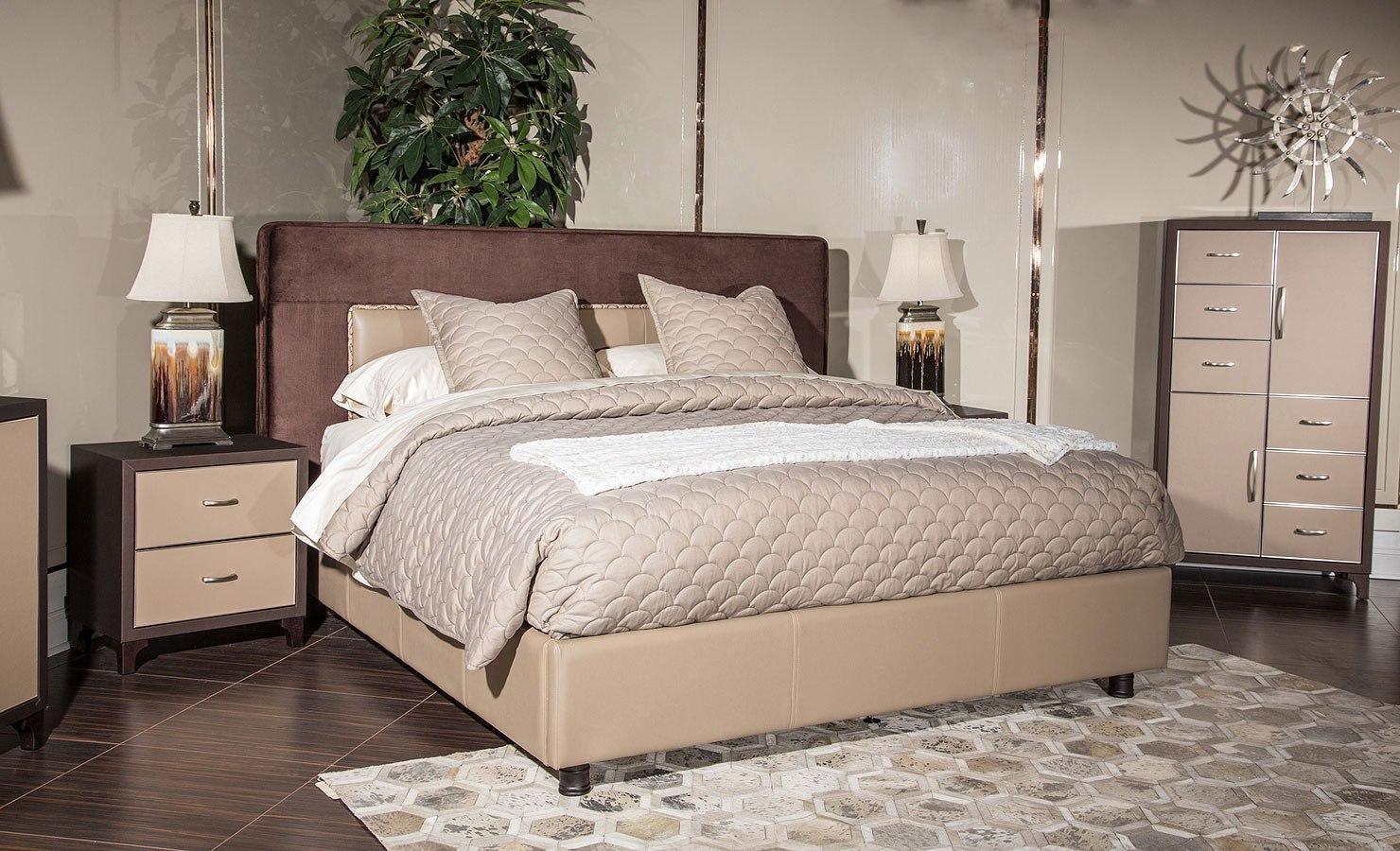 21 Cosmopolitan Upholstered Tufted Bedroom Set (Taupe