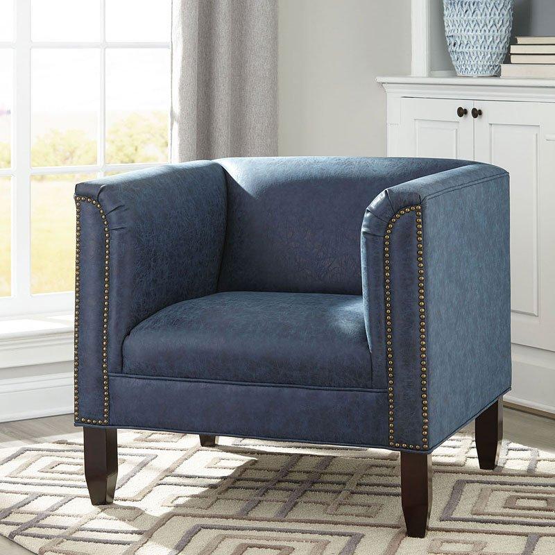 Darest Blue Accent Chair W/ Nail Head Trim