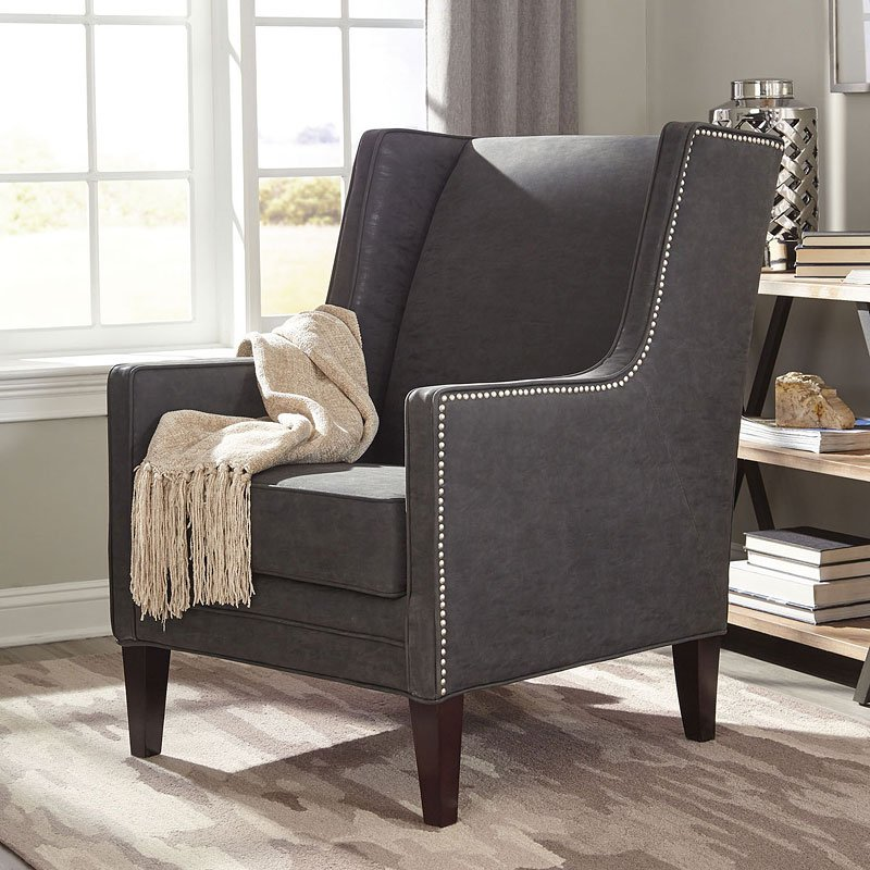 Charcoal Accent Chair W/ Nail Head Trim
