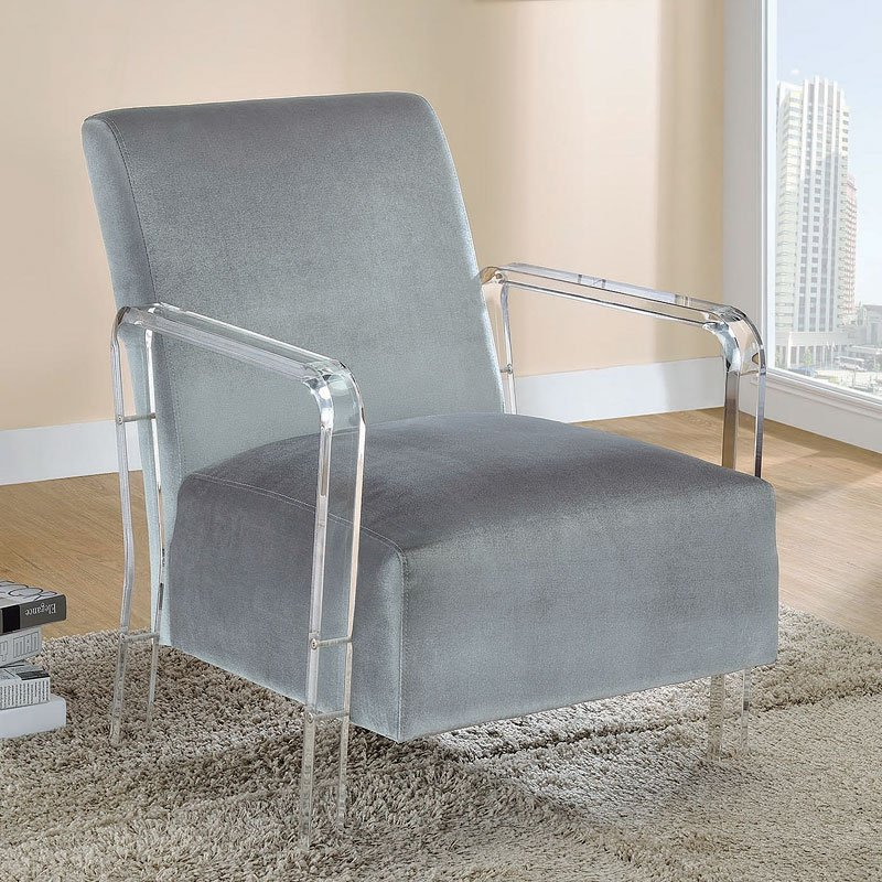 Grey Accent Chair W Acrylic Arms Coaster Furniture Furniture Cart