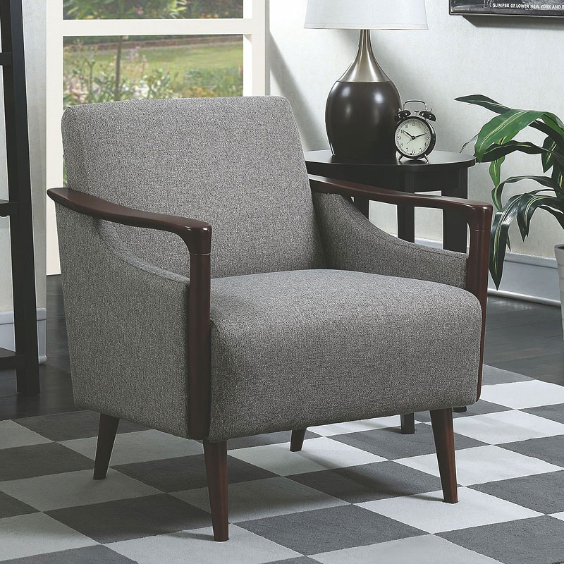 Grey Mid Century Modern Accent Chair