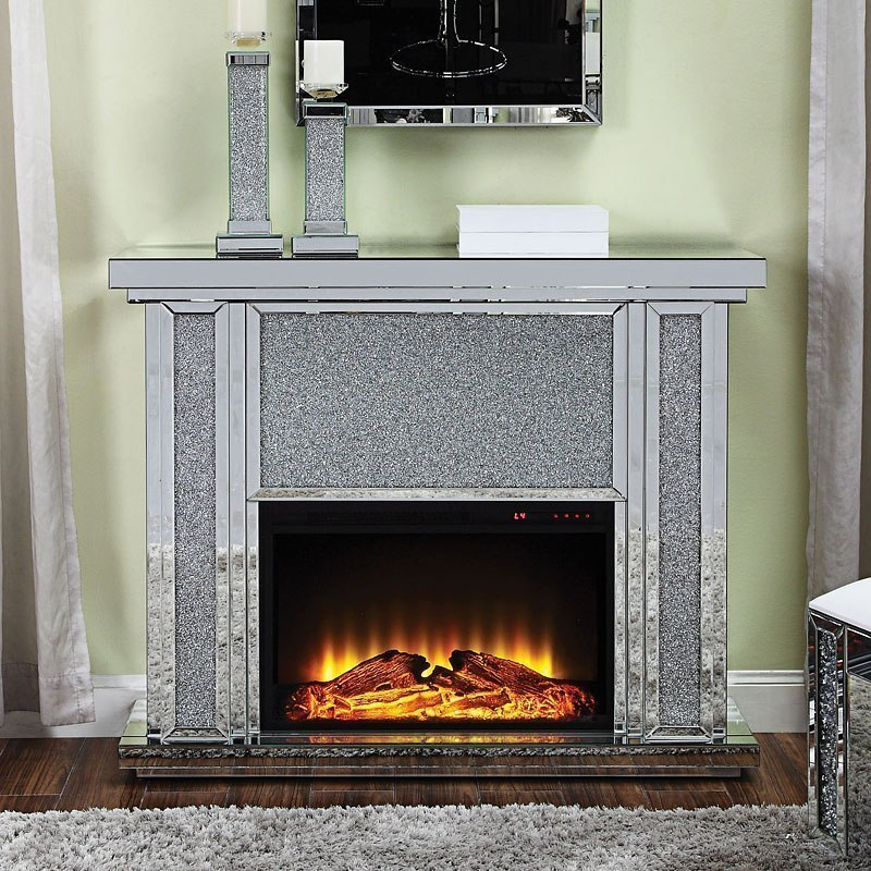 Nowles Mirrored Fireplace Acme Furniture Furniture Cart