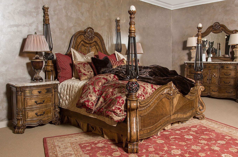 Edens Paradise Poster Bedroom Set Aico Furniture