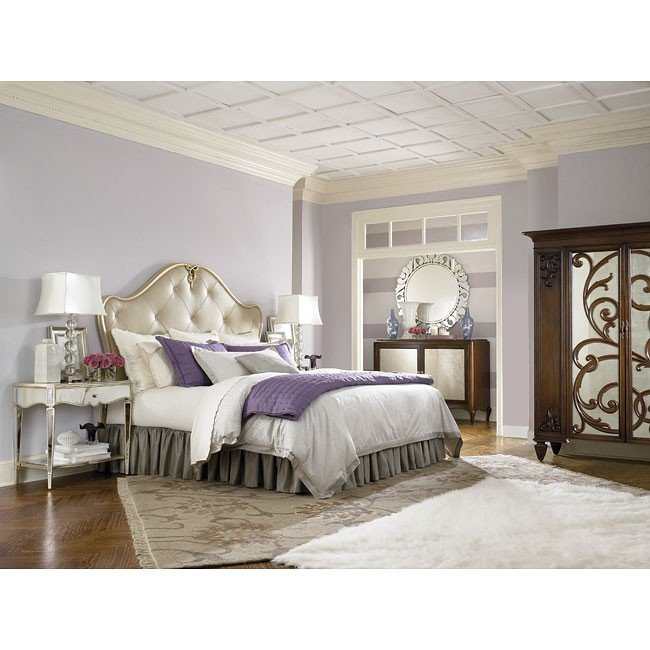 Jessica McClintock Silver Leaf Headboard Bedroom Set