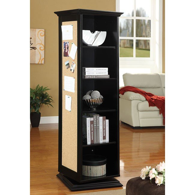 Black Swivel Cabinet w/ Cork Board and Mirror